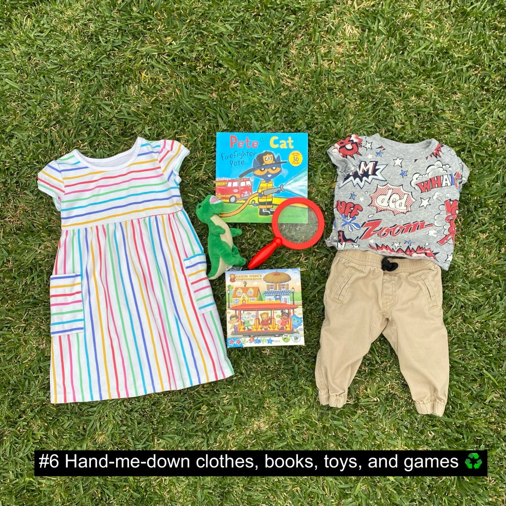 Hand-me-down clothes, books, toys, and games